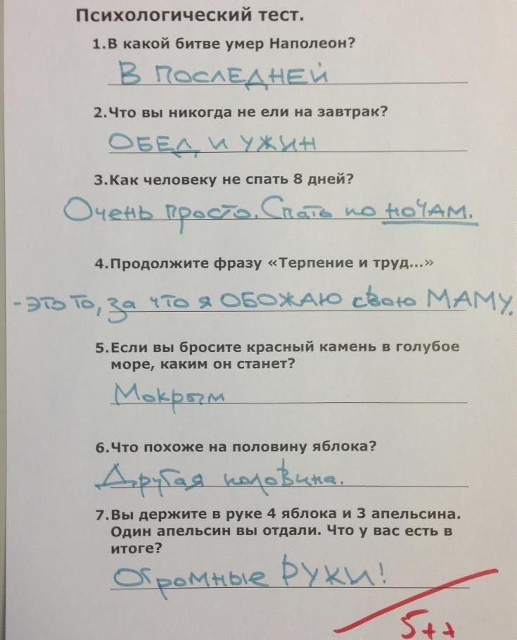 Тест по психологии