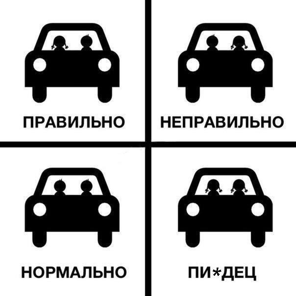 Правильно - неправильно: две девушки в машине