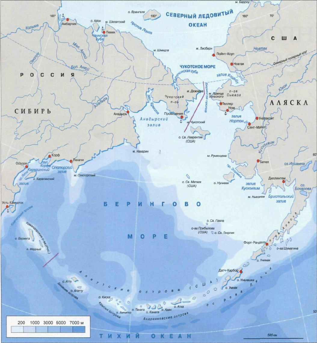 Берингово море карты морей