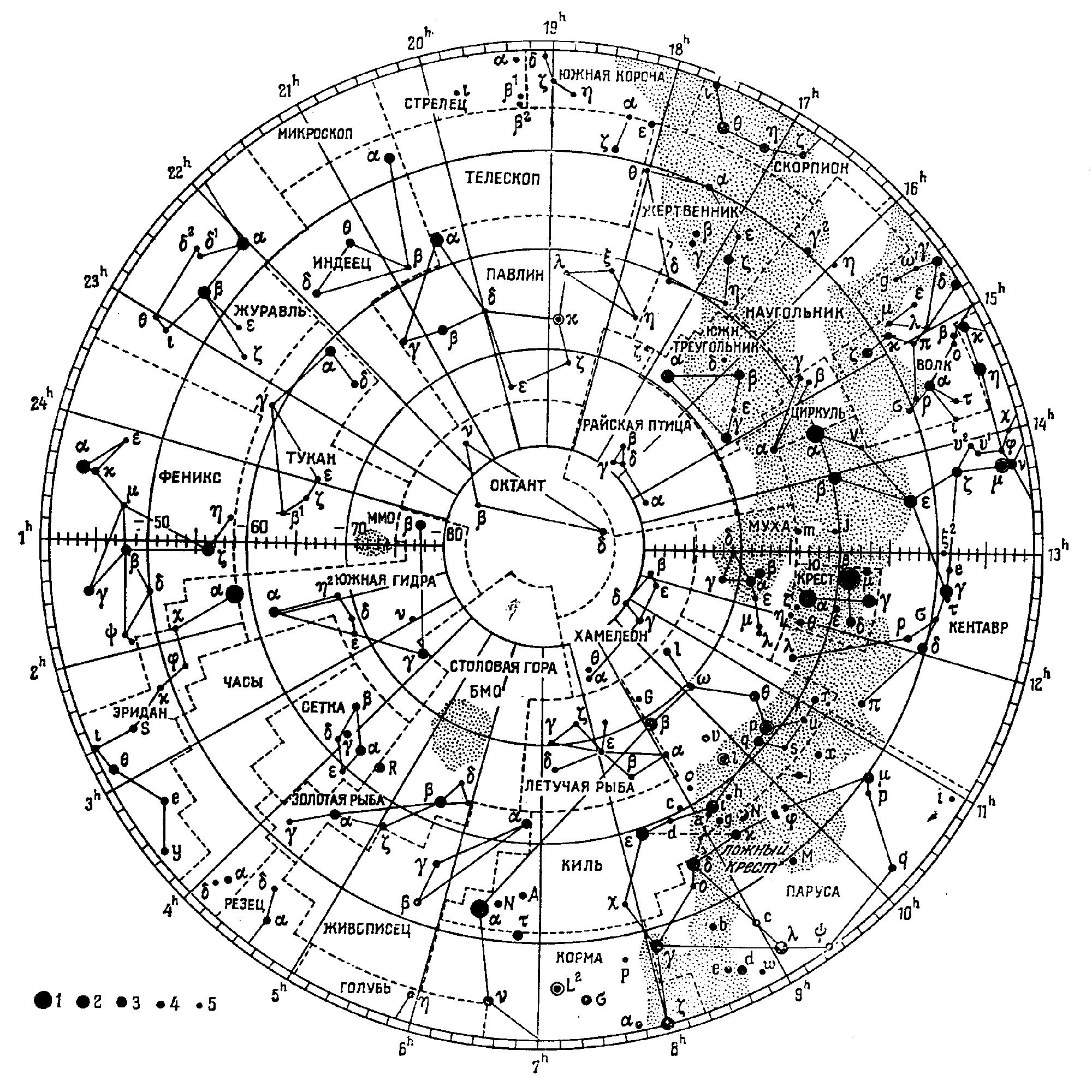 Схематичная карта звёздного неба